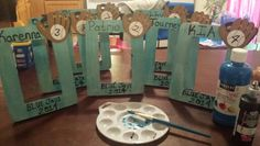 My diy pictures frames for my tball team! A end of the year gift. .. go blue jays! :)