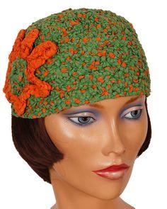1930s Cloche Green & Orange by VintageFanAttic on Etsy