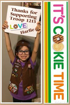 Girl Scout Troop Thank You cards for Cookie Orders. I took a picture of my little Brownie holding a plain white sign. Using the Pic Collage app on my iPhone I edited the picture with a thank you, her name and our troop number. I uploaded the pic to Walgreens and picked up several copies in only an hour. I place one Photo with each cookie order for that personal touch everyone just adores.