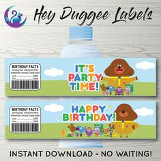 Hey Duggee Water Bottle Labels, Hey Duggee Party Decoration, Hey Duggee Birthday Party Printable, He 2nd Birthday Parties, Birthday Party Decorations, Happy Birthday, Birthday Ideas, Water Bottle Labels, Perfect Party, Custom Items, Party Printables, Best Part Of Me