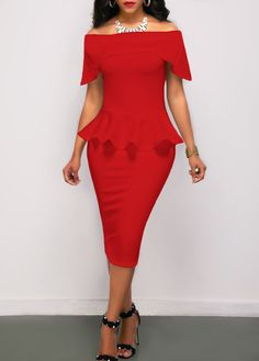 Off the Shoulder Peplum Waist Red Pencil Dress  on sale only US$28.27 now, buy cheap Off the Shoulder Peplum Waist Red Pencil Dress  at liligal.com