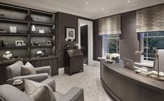 Masculine study at the Wentworth project. We restored and stained the owners own existing bureau from an orange  hue to a dark grey brown so it had a new lease of life and worked in their contemporary home.