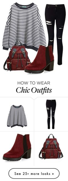 """""""Untitled #142"""" by thiferreira on Polyvore featuring Miss Selfridge, Burberry, New Look and stripedshirt"""