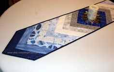 Christmas Quilted Table Runner Blues and Silver by CactusPenguin