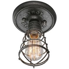 """Troy Conduit 8.25"""" High Old Silver Ceiling Light -"""