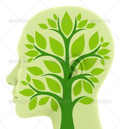 think green ...  bio, brain, concept, eco, ecologic, ecological, ecology, environment, environmental, flower, green, head, innovation, leaf, nature, plant, recycling, renewable, sustainability, think green, tree