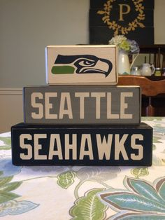 Seattle seahawks block set football team primitive blocks football fan gift sports team dad gift man cave fathers day  by AppleJackDesign on Etsy https://www.etsy.com/listing/213926263/seattle-seahawks-block-set-football-team
