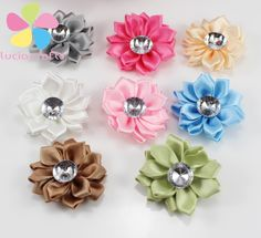 12pcs 40mm polyester flower heads  rosette bow handmade headwear diy  hair-bow & sewing materials 012004009 #Affiliate
