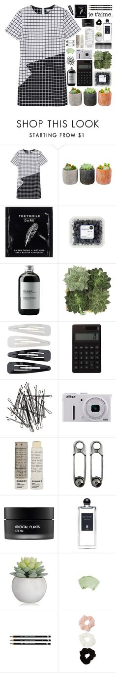 """""""In Check"""" by jeune-et-jolie ❤ liked on Polyvore featuring Shop Succulents, TokyoMilk, Sort of Coal, Jayson Home, Forever 21, Muji, H&M, Nikon, Korres and Sephora Collection"""