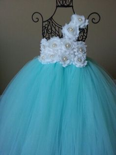 Tiffany and Co Inspired Flower girl tutu dress with white shabby flowers and rhinestone and pearl accents, wedding, flower girl, toddler