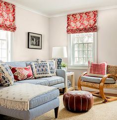 China Seas Lockan pillows and Malay Batik shades.  Interior design by Katie Rosenfeld.