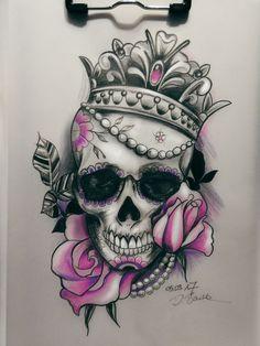 Right arm or Thigh tattoo Queen tattoo - Tattoo Ideas Skull Rose Tattoos, Flower Tattoos, Body Art Tattoos, Girl Tattoos, Sleeve Tattoos, Bleistift Tattoo, Caveira Mexicana Tattoo, Totenkopf Tattoos, Tatuajes Tattoos