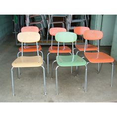 6 Vintage Young Adult School Chairs Mid Century Modern 17 in seat to floor ($120) found on Polyvore