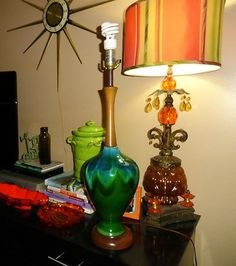 VTG 1960s MID Century Modern DRIP GLAZE Blue Ceramic Pottery Wood Table Lamp