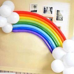 Conjunto de arco-íris Colorido Longo Animal Mágico Twist Balão Látex Festa De Criança Decorar