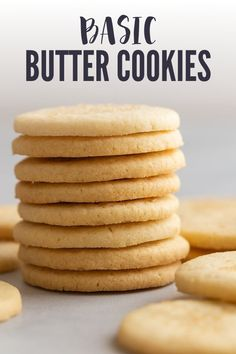 Basic Butter Cookies My recipe for butter cookies can be used in a multitude of ways! You can cut the cookie out, scoop and roll the cookies, or used in a cookie press! Basic Cookie Recipe, Basic Butter Cookies Recipe, Basic Cookies, Easy Cookie Recipes, Sugar Cookies Recipe, Sweet Recipes, Dessert Recipes, Best Butter Cookie Recipe Ever, Lemon Cookies