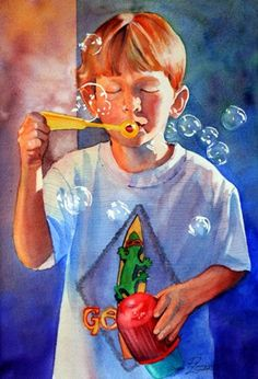 Childrens Portraits from Photos Watercolor by PeggithasPortraits