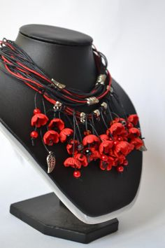 Red necklace polymer clay evening necklace jewelry with flow.- Red necklace polymer clay evening necklace jewelry with flowers polymer clay Necklaces Polymer clay jewelry gift -for -her gift for mom - Red Necklace, Leather Necklace, Leather Jewelry, Beaded Necklace, Handmade Necklaces, Handmade Jewelry, Jewelry Gifts, Jewelry Necklaces, Jewlery