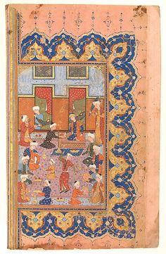 "Qasim 'Ali of Shiraz (Iran). ""A Scene of Conviviality at Court"", Folio from a Divan (Collected Works) of Mir 'Ali Shir Nava'i, 1580. The Metropolitan Museum of Art, New York. Gift of Alexander Smith Cochran, 1913 (13.228.21.6)."