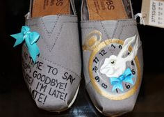 alice in wonderland embroidery designs | Painted Toms - Painted Bobs - Alice In Wonderland Shoes - Womens ...