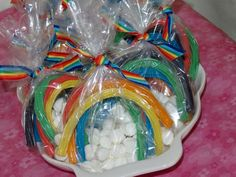 Rainbow licorice favors at a My Little Pony birthday party! See more party planning ideas at CatchMyParty.com!