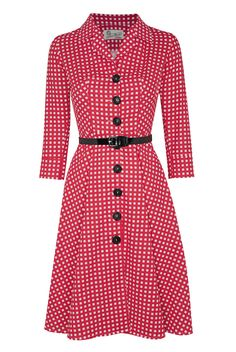 Tara Starlet 1950s red and white check/gingham shirt dress/pinup/vintage/bnwt