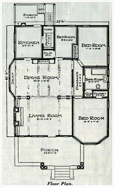 1916 Sears - Avondale Plan; that dining room is ready for some massive entertaining! Eliminate that tiny bedroom to expand the kitchen, make the bedroom closets a bit bigger, and this 100 year old floorplan would be a nice modern home in which to live!
