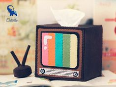 Retro Television with Antenna Tissue Box and Stationery Holder DIY Felt Craft Kit OR Finished Product