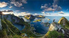 Norway, Nature, Sea, Cove, Motivational, Mountain Reynebringen, Mountain, Lofoten, Mountain Reynebringen Lofoten