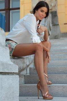 Shorts + Blouse + heels = perfect outfit for a night out - the heels and + flats a perfect day outfit.
