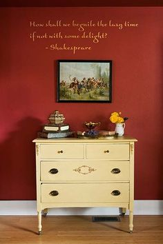 Master bedroom with Shakespeare quote - Devine Paint, Saffron - Photo by Philip Clayton-Thompson, Blackstone Edge Studios Remodeling Mobile Homes, Home Remodeling, Cozy Bedroom, Master Bedroom, Red Rooms, Traditional Bedroom, Interior Design Services, Wood Paneling, Country Decor