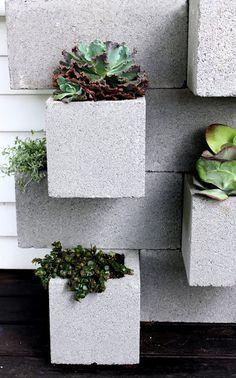 the HUNTED INTERIOR:Cinder block planter art