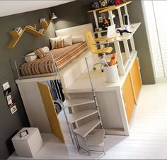 what kid wouldn't love this. stairs to a bed, a hidden room, and your desk on a platform.