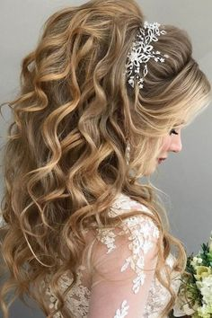 half up half down wedding hairstyles ideas high pony with accessory komarova websalon