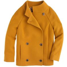 J.Crew Double-cloth car coat ($350) ❤ liked on Polyvore featuring outerwear, coats, jackets, coats & jackets, tops, yellow coat, car-coat, wool coat, car coat and j.crew