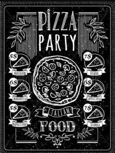 Vector illustration with pizza menu. Pizza Poster on a blackboard. A delicious slice of pizza with sausage. Menu Pizza, Pizza Logo, Pizza Art, Chalk Typography, Chalkboard Lettering, Chalkboard Designs, Pizzeria, Pizza Restaurant, Restaurant Design