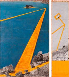 """Project drawings for Christo & Jeanne-Claude's upcoming """"Floating Piers"""" installation in Lake Iseo, Italy Land Art, Christo Y Jeanne Claude, Modern Miracles, Storm King Art Center, St Moritz, Environmental Art, Outdoor Art, Installation Art, Architectural Drawings"""