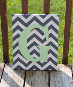 """Personalized Grey Chevron With Mint Green Initial Canvas Wall Art 11""""x14"""" Customized"""