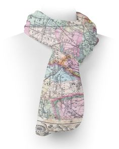 Antique  York City Map Fleece Scarf - Two Sizes - Warm For Winter