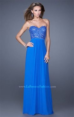 La Femme 20700 Long Electric Blue Lace Formal Dresses for Sale