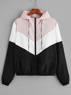 cut + sew panel hooded windbreaker jacket ~ romwe Source by Jackets Sporty Outfits, Teen Fashion Outfits, Mode Outfits, Cute Casual Outfits, Sporty Fashion, Mod Fashion, Sporty Chic, Fashion Women, Summer Outfits
