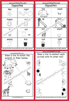 Printable Preschool Worksheets, Kindergarten Math Worksheets, Free Printables, Opposites Worksheet, Math For Kids, First Grade, Homeschooling, Day, First Class