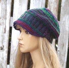 Womens Hat Flower Purple Green Women Hat Winter Crochet by Degra2