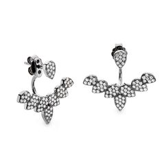 Indulge your magpie tendencies and pick up a pair of these fan style facetted CZ swing earrings, with their dazzling stones which edge your ear lobe. Black Rhodium, After Dark, Magpie, Silver Earrings, Stones, Sparkle, Pairs, Fan, Sterling Silver
