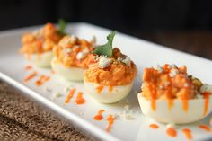 Buffalo Chicken Deviled Eggs - Something to do with all those leftover easter eggs?