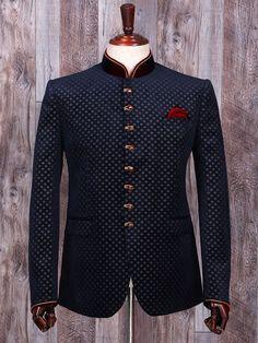 Shop Terry rayon navy wedding wear jodhpuri suit online from India. Wedding Dresses Men Indian, Wedding Dress Men, Wedding Suits, Wedding Wear, Mens Kurta Designs, Blazer Outfits Men, Stylish Mens Outfits, Indian Men Fashion, Mens Fashion Suits