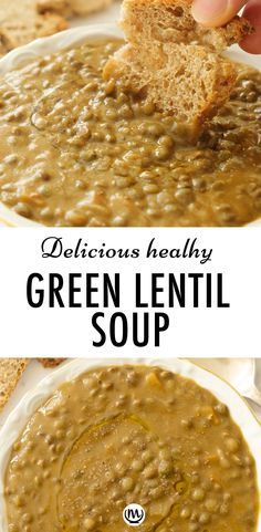 This comforting creamy lentil soup is vegan, healthy, and packed with a deliciously warm spicy flavor. A terrific budget-friendly one-pot family meal! #souprecipes #lentilrecipes #veganrecipes #cheapmeals #cheapdinnersforafamily #healthydinnerrecipes #glutenfreerecipes #vegandinners #greenlentilrecipes #plantbasedrecipes Green Lentil Soup, Vegan Lentil Soup, Vegan Soups, Lentil Recipes, Beef Recipes, Vegetarian Recipes, Family Recipes, Inexpensive Meals, Cheap Meals