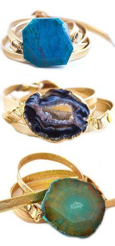 Agate Leather Wrap Bracelet ♥ para collar y para pulseras