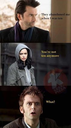 Jessica Jones/ Doctor Who. We laughed so hard at that line because it had to have been on purpose.