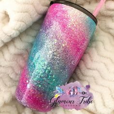 Diy Tumblers, Personalized Tumblers, Custom Tumblers, Glitter Tumblers, Kids Tumbler, Tumbler Cups, Girls Cup, Unicorn Cups, Unicorn And Glitter